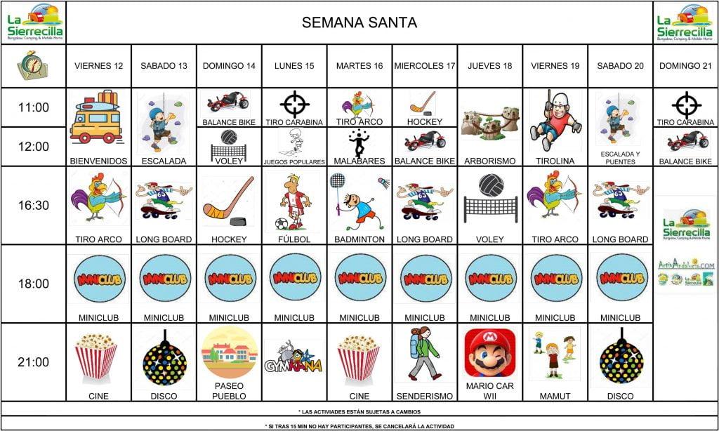 calendario de animación semana santa