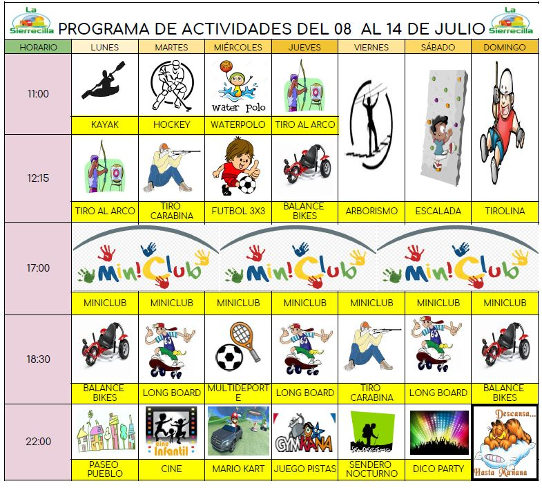 actividades sierrecilla Julio 2019